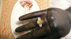Stunning Sterling Silver Canary and CZ Ring by southernvintagerose, $29.00