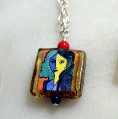 Matisse Woman Pendant with coral and onyx (2012 inventory, sold)
