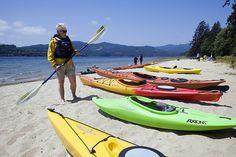 Kayaking in Porpoise Bay near Sechelt on the Sunshine Coast.