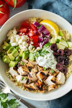 Quinoa Bowls (with Grilled Greek Chicken & Tzatziki!) - Cooking Classy - Quinoa Bowls (with Grilled Greek Chicken & Tzatziki! Greek Recipes, Diet Recipes, Chicken Recipes, Cooking Recipes, Healthy Recipes, Cooking Tips, Soup Recipes, Snacks Recipes, Cooking Food