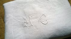 """Long White Antique Linen Damask Tablecloth French Made Bourdon Monogram Hand Embroidered 94"""" #sophieladydeparis"""