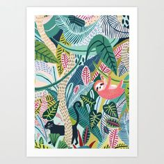 Sloth / Jungle / Sloth Print/Botanical Illustration/Panther/Sloth Gift/Tropical/Safari/Botanical Print/Home Decor/Sloth Art/Nursery Wall Art Motif Jungle, Jungle Art, Jungle Pattern, Images Jungle, Illustration Jungle, Illustration Botanique, Botanical Prints, Nursery Wall Art, Art For Kids