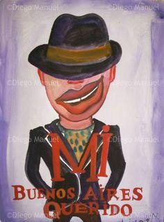 """""""Mi Buenos Aires querido 2"""", Gouache on paper, 25 X 35 cm Price of original painting: inquire"""