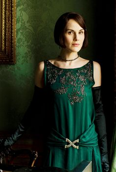 Michelle Dockery as Lady Mary photographed by Nick Briggs in the drawing room at Highclere Castle, the set of Downton Abbey. ..