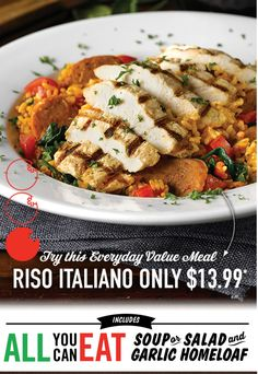 East Side Marios Canada Offers: Get Riso Italiano Value Meal For $13.99 Including All You Can Eat Soup or Salad... http://www.lavahotdeals.com/ca/cheap/east-side-marios-canada-offers-riso-italiano-meal/77587