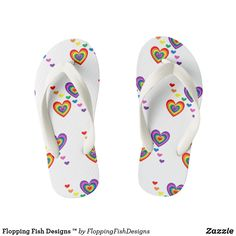 Shop Flopping Fish Designs ™ Kid's Flip Flops created by FloppingFishDesigns. Toddler Flip Flops, Girls Flip Flops, Fish Design, Kids Shop, Footwear, Comfy, Sandals, Stylish, How To Wear