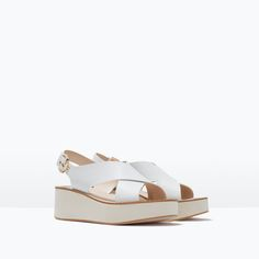 Front: CROSSOVER LEATHER WEDGES from Zara