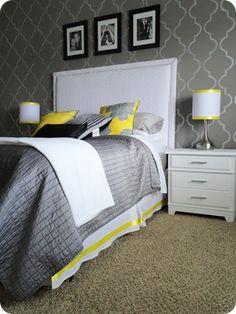 Habitación decorada en colores gris y amarillo. #Tendencias #Interiores #CasaCuesta