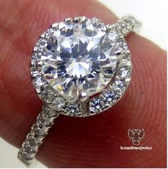 1.30 Carat Halo Style Round Cut Diamond Engagement Ring With 14K White Gold #br925 #HaloEngagementRing