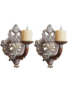 Pair of 18th Century Period Louis XV Carved Wooden and White & Yellow Gold Leaf Sconces