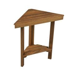"Plantation Teak Mini Corner Bench (Face 17"" x Sides 12"", x 8.5"" Depth) - Teak-Shower-Bench"