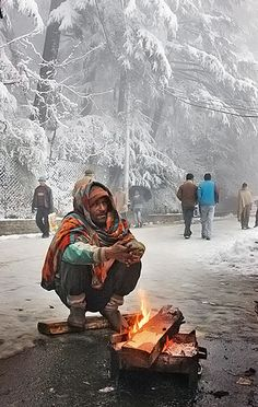cold, fire, warmth, layered clothing, survival, wood, life