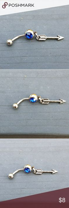 Arrow belly ring, Arrow navel ring, belly ring This is a brand new stainless steel arrow belly ring. It has a blue crystal in it. The arrow is about 1 inch long and the belly ring is about 1 inch long.  Bundle any three  $8 items and offer me  $16 and I will accept!!! 😀😀😀😀🍦🍦🍦🍦🍬🍬🍬🍬🍭🍭🍭🍭 Jewelry Rings