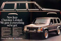 """This was my 1st car, an AMC 1987 Jeep Cherokee Ltd in Charcoal Pearl Grey <3. It was the last jeep cherokee made by AMC. It was similar to the black one in the opening scene car chase in the movie """"Goonies"""". This will always be my fave, we had it for 13 years :)"""