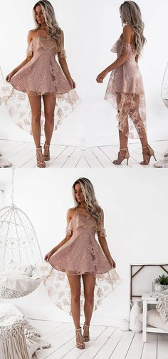 2017 homecoming dress, pink lace homecoming dress, straps short high low lace homecoming dress party dress prom dress