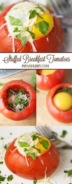 Stuffed Breakfast Tomatoes | I LOVE stuffing breakfast ingredients into tomatoes to create a delicious breakfast! Favorite healthy breakfast EVER!