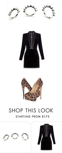 """Balmain Lbd leopard print spikes"" by kohlanndesigns ❤ liked on Polyvore featuring Eddie Borgo, Balmain and Giuseppe Zanotti"