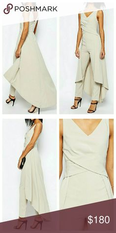 ASOS Skirted Maxi Dress Jumpsuit Romper Playsuit NWTs. Size UK 10 / US 6. Poly/elastane fabric. Zip closure. True to size, slight stretch to fabric. Color is a cross between a cream and light grey. ASOS Pants Jumpsuits & Rompers