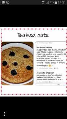 SLIMMING WORLD BAKED OATS