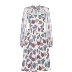 Luisa Beccaria Floral Printed Chiffon Dress (89 840 UAH) ❤ liked on Polyvore featuring dresses, flared sleeve dress, full length chiffon dress, flutter-sleeve dress, floral print dress and bell sleeve dress