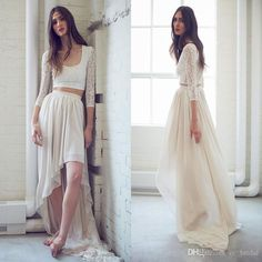 Summer Bohemian Two Pieces Wedding Dresses 2017 Deep Scoop Hi Lo Lace Chiffon Bridal Gowns With Long Sleeves Wedding Guest Reception Gown Bridal Dress Princess Wedding Dresses From Cc_bridal, $88.65| Dhgate.Com