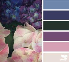hydrangea hues for a quilt Colour Pallette, Colour Schemes, Color Combos, Color Patterns, Color Charts, Design Seeds, World Of Color, Color Theory, House Colors