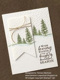 I love this card – especially the way you do the embossing to the snow … – Christmas and Winter Cards Christmas Cards – <tr Pinner Tina Quelle Bildgröße 170 x 226 Boardname Weihnachtskarten Ansichten 364 - Stamped Christmas Cards, 3d Christmas, Homemade Christmas Cards, Stampin Up Christmas, Christmas Cards To Make, Homemade Cards, Handmade Christmas, Holiday Cards, Christmas Design