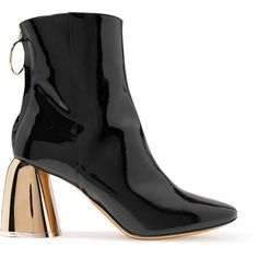 Ellery Patent-leather ankle boots ($915) ❤ liked on Polyvore featuring shoes, boots, ankle booties, high heel ankle boots, black ankle bootie, black booties, black high heel booties and short black boots