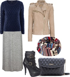 """""""HOW TO WEAR: Grey Maxi Skirt - 8"""" by danasfashionblog on Polyvore"""