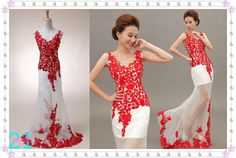 Colored Red Lace Wedding Dress Sexy Vneck Wedding Dress by 214EVER