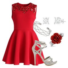 """Silver and Red"" by erickabonham on Polyvore"