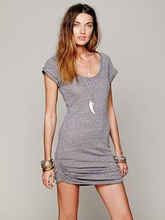 Love this basic grey 'Rebel Rebel' t-shirt dress. Such a versatile piece. Free People.