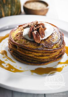 Pumpkin Pancakes with Maple Pecans and Coconut Yoghurt | Using the quinoa flour is a better health alternative to regular all-purpose flour, as the quinoa includes amino acids crucial to the synthesis of proteins and liver detoxification. The pumpkin provides moisture and beta-carotene. Adding ground cinnamon and ginger adds a warming component good for digestion and blood glucose regulation. | www.drlibby.com