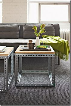 I'd love to make these end tables and a coffee table like this, but I'm not sure that I can find the metal slotted angle in the precut lengths that I'd need...