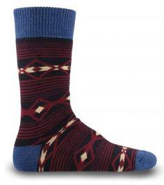 Mavi, Bordo Desenli Siyah Yün Erkek Çorabı