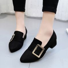 Cheap women low heels, Buy Quality low heels directly from China buckle pumps Suppliers: Spring Woman Boat Shoes Buckle Pumps Women Low Heels Slip on Shoes Faux Suede Ladies Shoes Black Loafers Zapatos Mujer 34e69