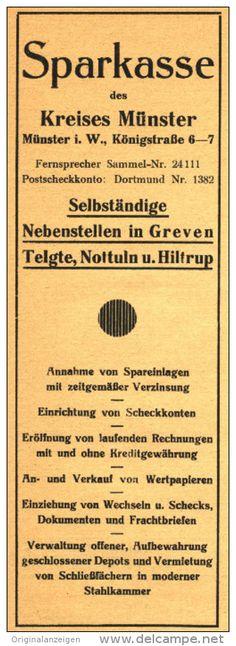 Original-Werbung/ Anzeige 1931 - SPARKASSE DES KREISES MÜNSTER ( GREVEN; TELGTE; NOTTULN; HILTRUP).  ca. 75 x 220 mm