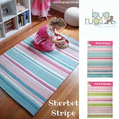 Our yummy Sherbet Stripe Kids Rug!  This divine children's rug comes in two amazing colour combinations of pink & aqua or pink & green.  Your girl will love them!  Perfect for a baby's nursery, child's bedroom or playroom.  Create a special place for your little girl with these gorgeous girls floor rugs!
