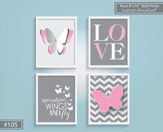Girl Nursery Butterfly Art Prints Set 4 8x10 Butterfly Love