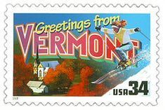 The Vermont State Postage Stamp  Depicted above is the Vermont state 34 cent stamp from the Greetings From America commemorative stamp series. The United States Postal Service released this stamp on April 4, 2002. The retro design of this stamp resembles the large letter postcards that were popular with tourists in the 1930's and 1940's.