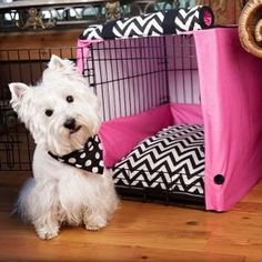 Pet Crate Cover | Babyville Boutique™ use PUL fabric for the pillow and cover. Great idea for Rosie's Pink cage~