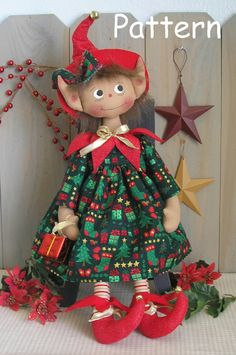 PDF E-Pattern 25 Primitive Raggedy Christmas por cottonwoodcountry