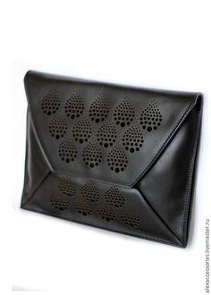 Купить Кожаный клатч - конверт (черный) - черная сумка, сумка, сумочка из кожи, Кожаная сумка
