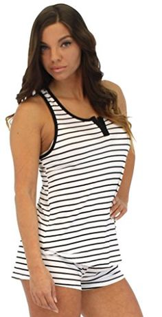f137585d91e66 Pajama Heaven Women s Black   White Stripe Tank with Cross Straps and  shorts (PHV1924-2025-SML)