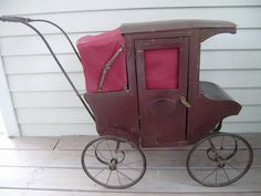 Antique Victorian Childs Push Toy Horseless Doll Carriage Burgundy Red Unique | eBay
