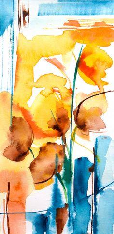 Petit instant N° 207 - Peinture,  10x20 cm ©2014 par Véronique Piaser-Moyen -                                                            Peinture contemporaine, Papier, Fleur, aquarelle, watercolor, piaser, piaser-moyen, fleurs, fleur, flower, flowers