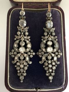 A Stunning Pair Of Georgian Rose Cut Diamond Earrings Circa - Bijouterie Art Deco Jewelry, Modern Jewelry, Jewelry Gifts, Jewelry Box, Fine Jewelry, Trendy Jewelry, Jewelry Ideas, Jewelry Accessories, Rock Jewelry