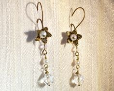 Daisy Flower Bloom Earrings White Freshwater Pearls by matriarch, $25.00