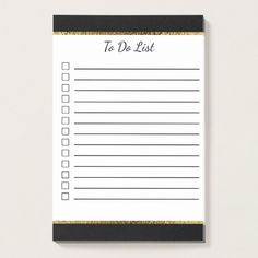 Black and White with Gold Trim To Do List Post-it Notes Custom Office Retirement #office #retirement