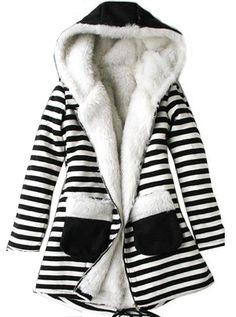 striped fuzzy coat